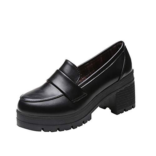KERULA Stiefel Damen, Klassische Flache Pumps MüßIggäNger der Retro Frauen ZufäLlige Damen Flache Mund Arbeits Schulschuhe | Worker Boots | Blockabsatz Profilsohle