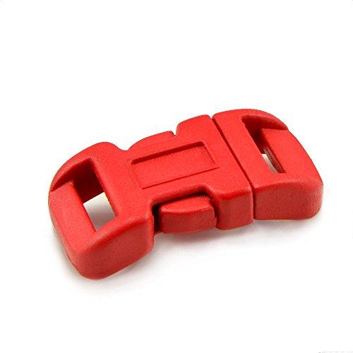 Ganzoo kliksluiting van kunststof in 20-delige set, 3/8'' clipsluiting/steeksluiting/steeksluiting voor Paracord-armbanden, hondenhalsbanden, rugzak, kleur: rood