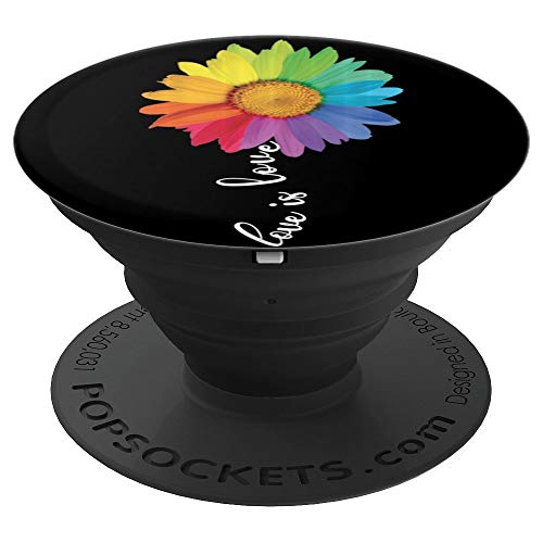 Love is Love Rainbow Sunflower LGBT Gay Lesbian Pride Gifts PopSockets Grip and Stand for Phones and Tablets