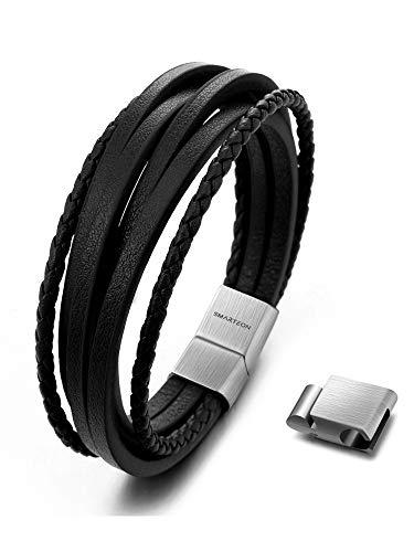 SMARTEON | Premium Echtlederarmband für Männer in schwarz & braun | Verschiedene Längen | Magnetverschluss aus Edelstahl | Exklusive Schmuckschachtel (Schwarzes Leder/Edelstahl silber, 19.00)