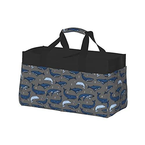 Extra große Einkaufstasche – Übergroßer Strandkorb aus Segeltuch, wiederverwendbar, Einkaufstasche, Wal, Anthrazit und Blau