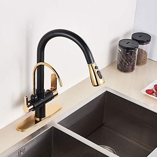 grifo de agua Grúa filtrada para cocina, negro mate, espray extraíble, grifo de filtro de agua de rotación 360, mezclador de lavabo de tres vías, grifo de cocina
