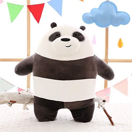 YJTT Anime Dibujos Animados Los Tres Osos Desnudos Muñeca de Peluche Muy Suave Lindo Panda PUSA Polar Oso Tedda Relleno de Peluche Regalos de decoración (Color : Black and White, Talla : 38 40cm)