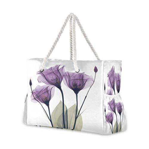 Strandtasche mit Baumwollseil-Griffen, Öl-Blume, Reißverschluss oben, wiederverwendbare Einkaufstasche, Wäschesack
