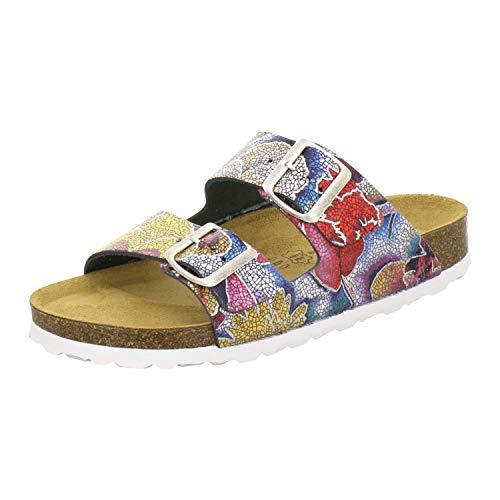 AFS-Schuhe 2100, Bequeme Damen Pantoletten echt Leder, praktische Arbeitsschuhe, Hausschuhe, Handmade in Germany (41 EU, Mehrfarbig/Multicolor)