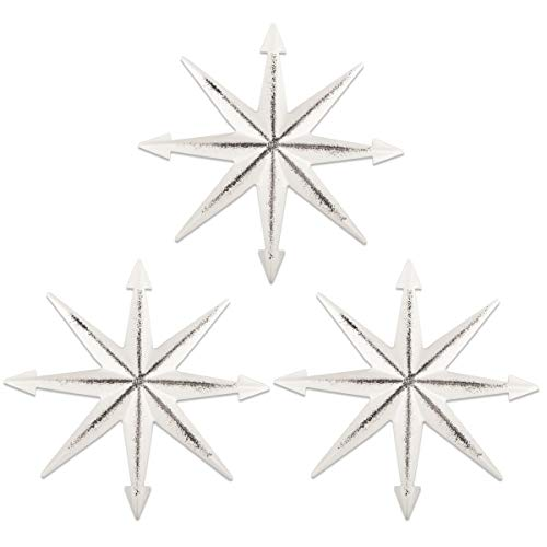 YiYa 3PCS Decoración de Pared de Arte de Estrella de Estrella de Metal Angustiado para Sala de Estar Dormitorio Decoración Decoración de Arte de Pared de casa de Campo Occidental Vintage, Blanco 20CM