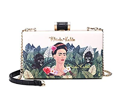 Frida Kahlo Licensed Clutch with Long Strap, Jungle Collection