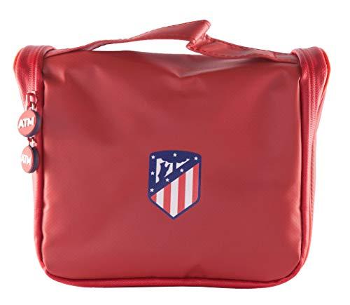 Atlético de Madrid Neceser de Viaje - Producto Oficial del Equipo, con Percha para Colgar y Varias Alturas para Guardar Artículos de Aseo