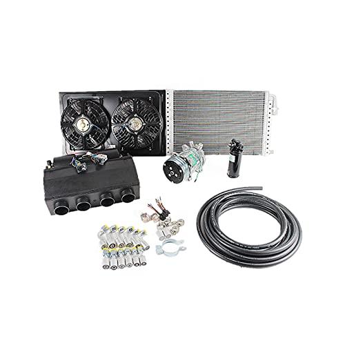 Kit de compresor enfriador de evaporador de aire acondicionado de 12 V 24 V A/C, adecuado para piezas de CA de muscle car, camiones, camiones, tractores, excavadoras, caravanas (Refrigeración 24V)