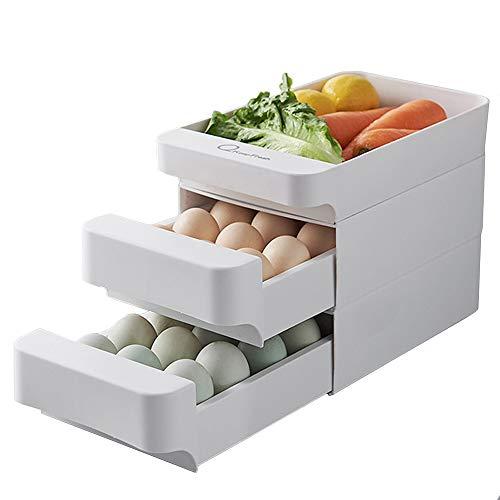 A Portauovo a 3 strati con cassetto porta uova con grande capacità impilabile, in...