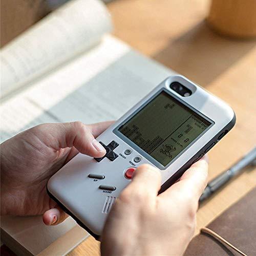 Gameboy Funda para iPhone Fundas con Cubierta Protectora Suave Reproductor de Juegos portátil con Sistema de Juegos Retro Tetris Blanco (iPhone 6/6S/7/8)