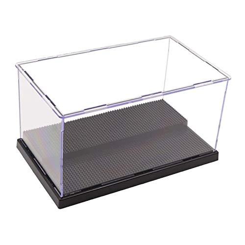 ELEpure Caja de exhibición de acrílico transparente de 2 niveles,  ensamblaje de mostrador de almacenamiento,  cubierta antipolvo,  vitrina de figura de acción pop,  juguete coleccionable (25x15.5x13.5cm)
