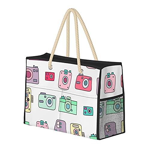 FJJLOVE Große Strandtasche Fotokameras Nahtlose Umhängetasche für Damen - Tote Bag Handtasche mit Griffen
