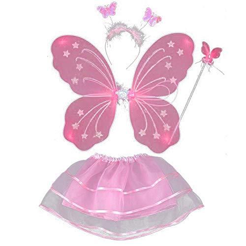 ESHOO Feenkostüm, Schmetterling, Kinder Kostüm, für Mädchen von 2-8 Jahren, Feenflügel, Stab, Haarreif und Tutu Rock, 4-teilig