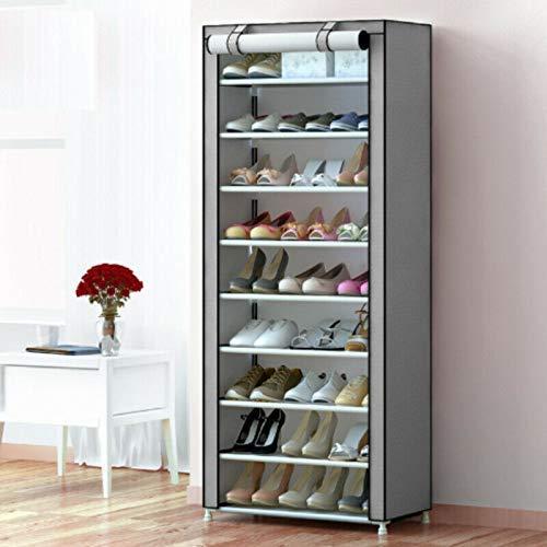 Accesorios de papelería Zapatero de Tela Wghz 58 x 28 x 160 cm Zapatero Sistema de Almacenamiento de Zapatos de 10 Capas Gris