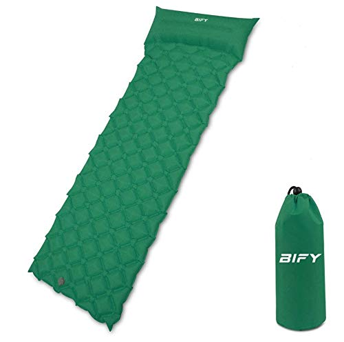 BIFY Isomatte Camping Schlafmatte Ultraleicht Kleines Packmaß. Aufblasbare Luftmatratze für Outdoor Camping, Reise,Trekking und Backpacking (Dunkelgrün mit Kissen)