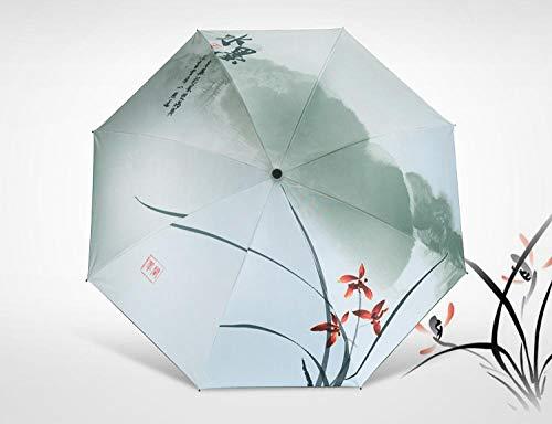 Regenschirme Kreative Sonnenschirm Uv-Schutz Sonnenschutz Im Chinesischen Stil Tinte Malerei Klar Dual-Use-Regenschirm Alten Stil Geschenk-Schwarz Kunststoff Sonnenschutz Orchidee