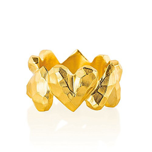 Drachenfels Luxus Damen Ring Silber goldplattiert aus der Kollektion Heartbreaker | Faszinierender Herz Ring goldplattiert | Edler Designer-Schmuck, Designer-Ring