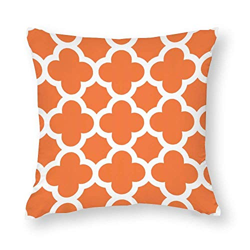 Funda De Almohada Celosia Orange Quatrefoil Impreso Colorido Throw Pillow Covers Funda...