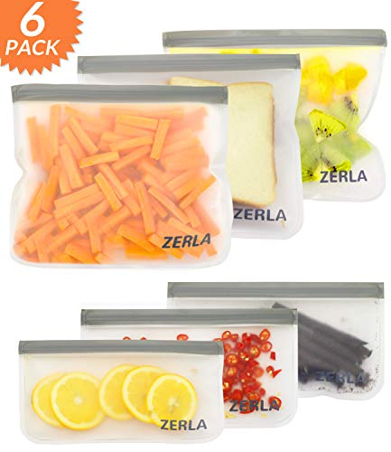 Buy Discount ZERLA Reusable Storage Bags Leakproof Easy Seal Ziplock Snack Bags for Food Storage and...