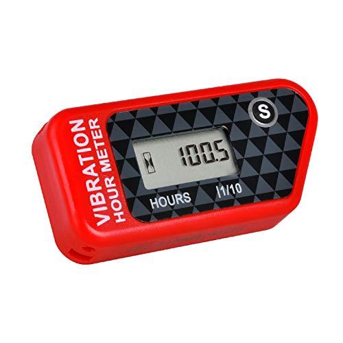 Runleader Contador de Horas inalámbrico Digital,operación de vibración para Carrito de Golf,Tractor,generador,compresor,Motosierra,Motocicleta,Bicicleta de Tierra,Lavadora a presión (016B-RD)