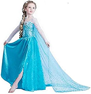 Princess Party Dress Evening,Girls Party Cosplay Girl Clothing Snow Queen Birthday Princess Dress Kids Costume Blue Costume