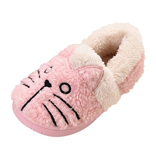 Toddler Boys Girls Fall Winter Warm Indoors Floor Shoes for 1-10 Years Old Child Teen Cartoon Cat Home Slippers (18-24 Months, Pink)
