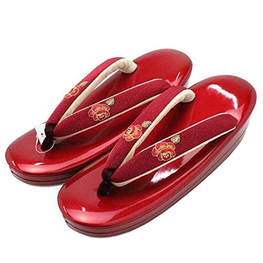 クモ面白い育成[きもの京香] 草履 レディース 女性用 卒業式 袴 小紋 日本製 二枚芯 女物 LLサイズ 大きい 刺繍 花柄 赤