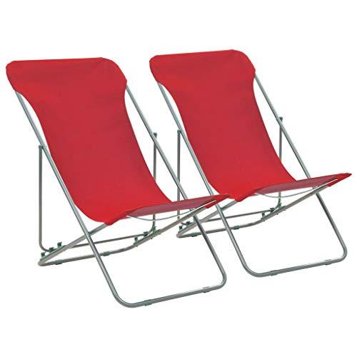 Festnight Klappbare Strandstühle 2 STK. | Klappbar Campingstühle | Klappstühle | Angelstuhl | Anglerstuhl | Faltstuhl | Rot Oxford-Gewebe mit Stahlrahmen 75 x 57 x 99 cm