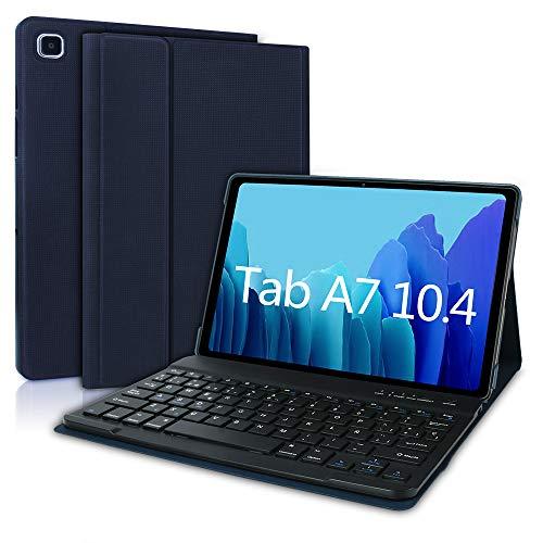 Funda Teclado para Samsung Galaxy Tab A7 10.4' 2020, Español Ñ Teclado Bluetooth Inalámbrico Extraíble para Estuche Protector Samsung Galaxy Tab A7 SM-T500/T505/T507 2020 (Azul Oscuro)