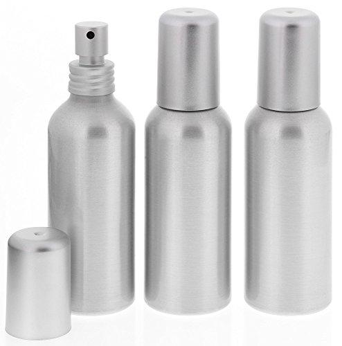 Aluminium-Flasche, Pump-Zerstäuber, Alu Sprühflasche leer, 100 ml Kosmetex, bruchsicher, rund, 3× 100 ml Zerstäuber