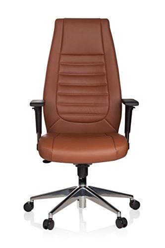 hjh OFFICE 600989 XXL Chefsessel VITORO Kunstleder Braun Schreibtischstuhl mit hoher Rückenlehne