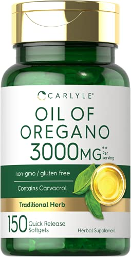 Oregano Oil 3000mg | 150 Softgel Capsules | Non-GMO and Gluten Free Supplement | Contains Carvacrol | Max Potency Extract | by Carlyle