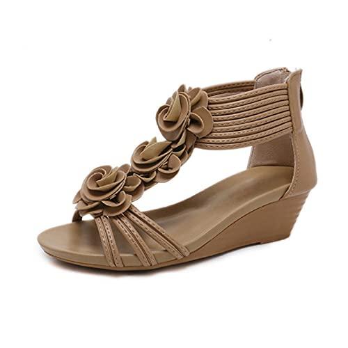 LYNLYN Sandalias Tallón de la tacón de la Pendiente de la Flor de Verano Zapatos de Mujer de Moda y cómodas Sandalias de Mujer Sandalias de Mujer (Color : Apricot, Size : 38)