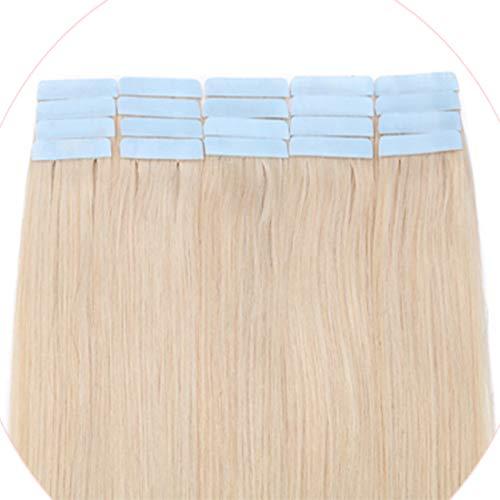 Extension Adhesive Cheveux Naturel MAXI VOLUME - Rajout 100% Cheveux Humain à Bande Adhésive 20pcs (3g/pcs) - #70 Blanc blanchi - 35CM