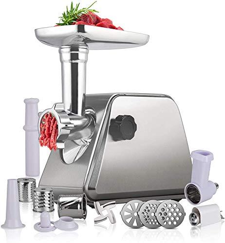 Anbull Elektrischer Fleischwolf, 5-IN-1Wurstfüller Multi Küchenmaschine1000W(2800W Max), Wurstfüllmaschine mit 3 Edelstahlschleifplatten und Wurstfüllrohren, Gemüseschneidwerkzeug, Ketchup-Tool