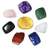 Juego de 8 piedras de chakra, cristales curativos, para meditación de cristal, reiki o como piedras de preocupación o piedras de palma, piedras de pulgar y terapia de cristal
