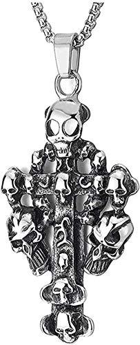 DUEJJH Co.,ltd Collar Hombres S Grande Clásico Moda Personalidad Encanto Acero Retro Cráneo Círculo Cruz Colgante Collar