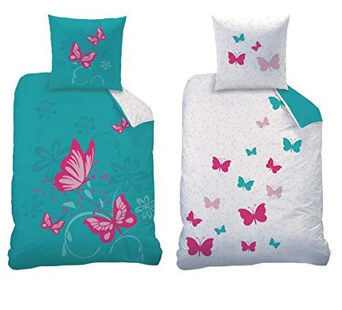 CTI Juego de ropa de cama reversible con diseño de mariposas, tamaño 135 x 200 cm, 80 x 80 cm, 100% linón de algodón, color turquesa y rosa