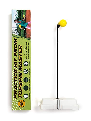 TOPSPIN MASTER Practice Hit Tennis Trainer - Portable Self-Training Aid - Rebounder Tennis Training Equipment for Beginners & Pros - Helps Improve Strokes - Easy to Assemble, Comes with Extra Ball