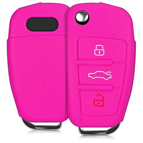 kwmobile Funda de Silicona Compatible con Audi Llave de Coche Plegable de 3 Botones - Carcasa Suave de Silicona - Case Mando de Auto Rosa Fucsia