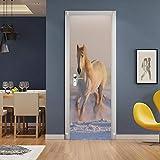 FDASLJ Adesivi per Porte Porta 88x200CM Cavallo Bianco di Bella Moda Poster Adesivi per Porte 3D in PVC Adesivo per Porta, Home Porta Pellicola Decorativa Carta Autoadesiva