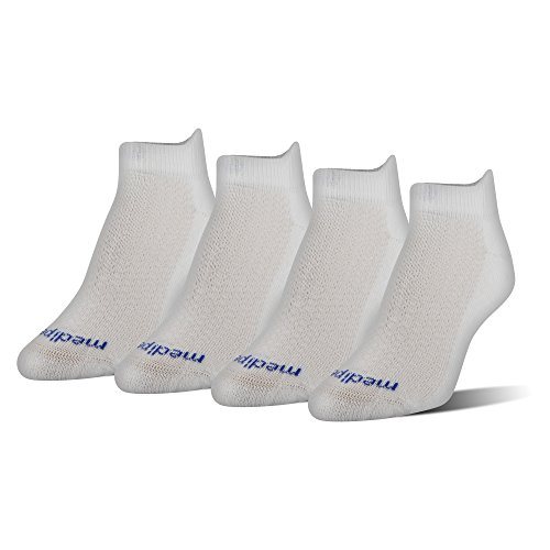 MediPEDS Women's Coolmax Low-Cut Socks, 4-Pack, white, Shoe Size: 6-10