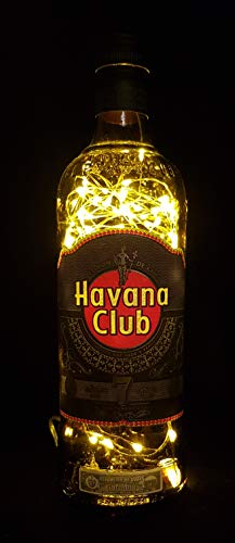 Havana Club Anejo 7 - Flaschenlampe mit 80 LEDs Warmweiß Upcycling Geschenk Idee