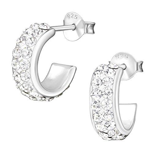 laimons–Pendientes para mujer joyería femenina abierto brillo blanco brillante plata de ley 925