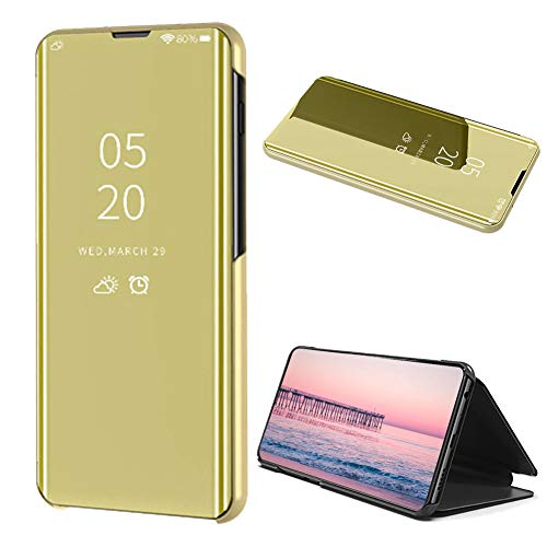 Magnetic PU Leather Flip Case Amocase Smart Clear View Case with 2 in 1 Stylus for Huawei P30 Lite,Ultra Slim Electroplate Plating Stand Mirror Full Body Shockproof PC Blue