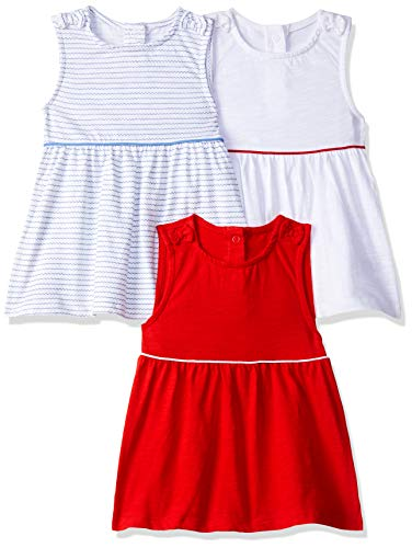 Mothercare Stripe/Red/White 3Pk Vest Canotta, Multicolore (Multi 1), 18 Mesi Bambina
