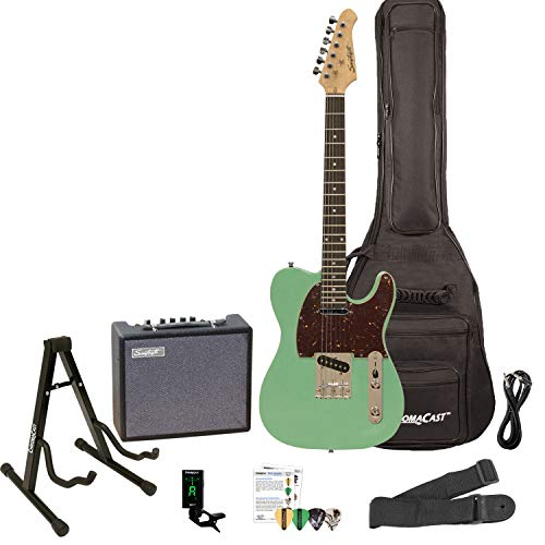 Sawtooth ET Series Electric Guitar Kit, Surf Green with Tortoise Shell Pickguard - Includes 10W Amp and ChromaCast Accessories