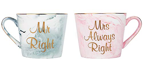 Happy Homewares Mr Right & Mrs Always Right Grau und Pink Marmor Keramikbecher mit goldenem Rand