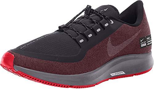 Nike Mens Air Zoom Pegasus 35 Shield Running Shoes, Black/Metallic Silver-Night Maroon (US 9, Black/Metallic Silver-Night Maroon)